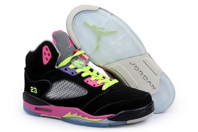 Air Jordan 5 Women Shoes Black/Pink/Light green
